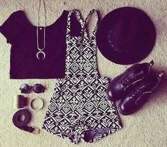 romper aztec short overalls indie hipster top jewels jumpsuit high waisted overalls black and white pattern grunge black and white pattern romper hat