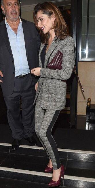 pants suit blazer cheryl cole pumps purse fall outfits jacket
