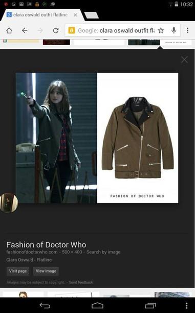 coat flatline doctor who the kooples leather detail canvas parka clara oswald