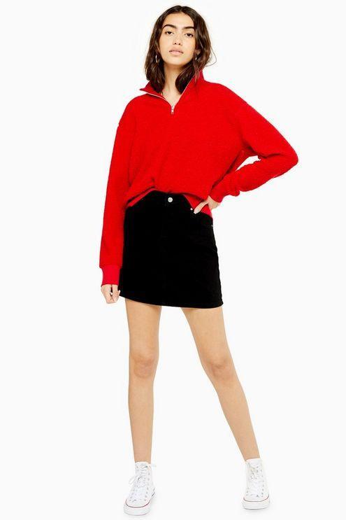 Black Denim Mini Skirt - Black