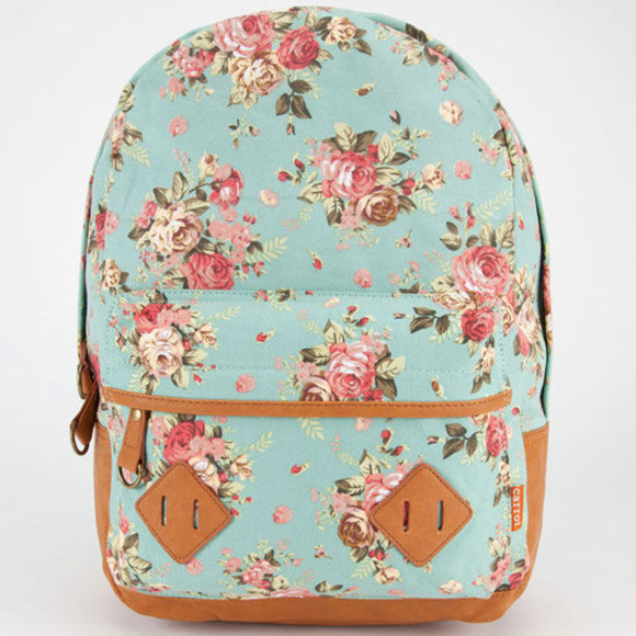 green floral bag floralpattern pattern backpack faux tillys