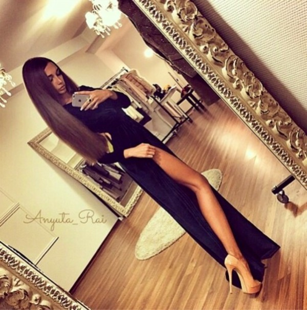 Dress: black, nude high heels, cut out maxi dress, girl, fashion ...