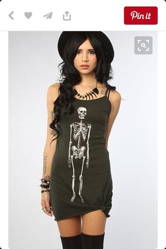 dress skeleton punk rock alternative goth grunge style fashion t-shirt dress army green