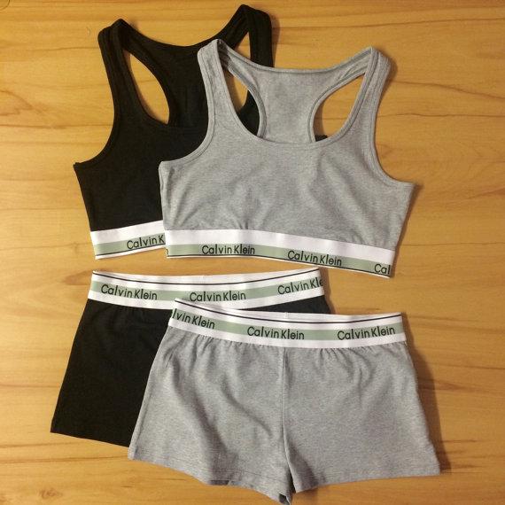 Reworked Underwear Set Calvin Klein Sports Bra And Shorts