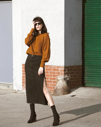 sweater skirt tumblr fall outfits fall colors midi skirt black skirt slit skirt boots black boots ankle boots sock boots mustard mustard sweater