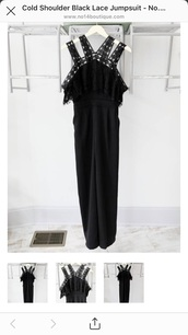 jumpsuit,lace,black,cold shoulder