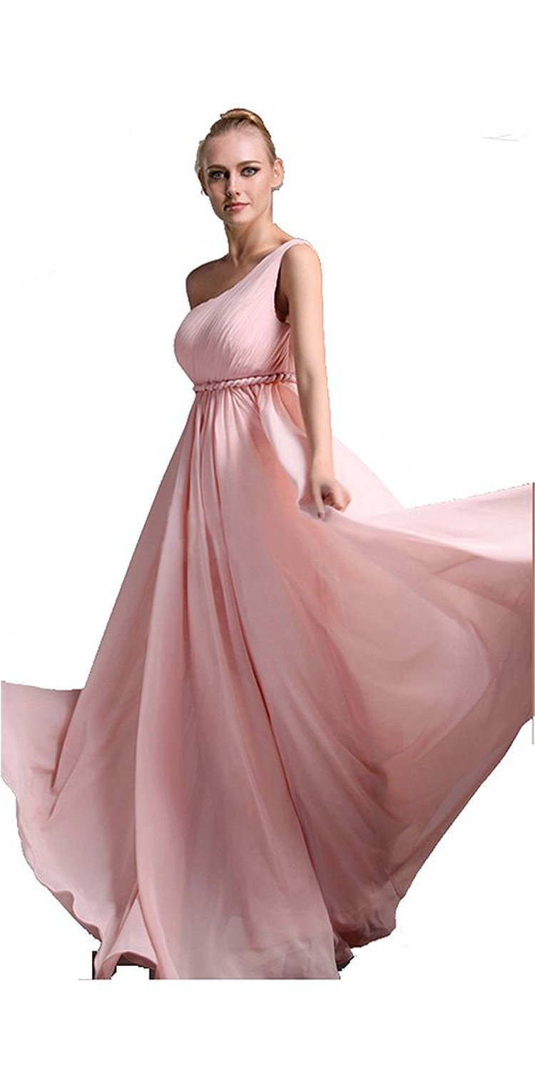 Amazon.com: Long Soft Pink Empire Braided Belt One Shoulder Prom Dress: Clothing
