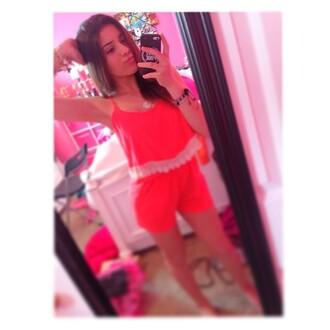 shirt neon tank top cute lace neon pink pink orange neob n neon orange summer
