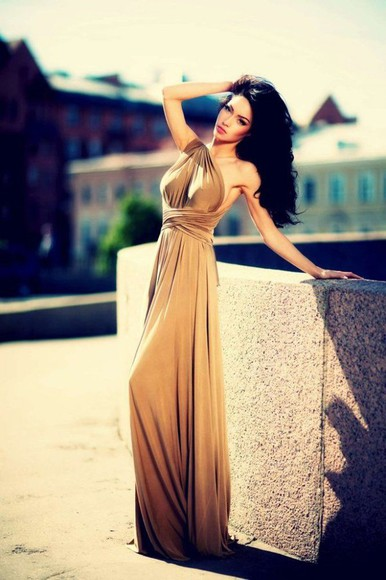 brown dress gold dress
