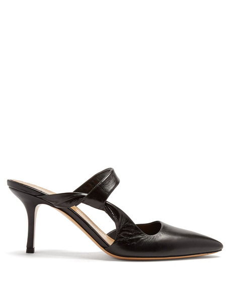THE ROW Gala Twist leather mules in black