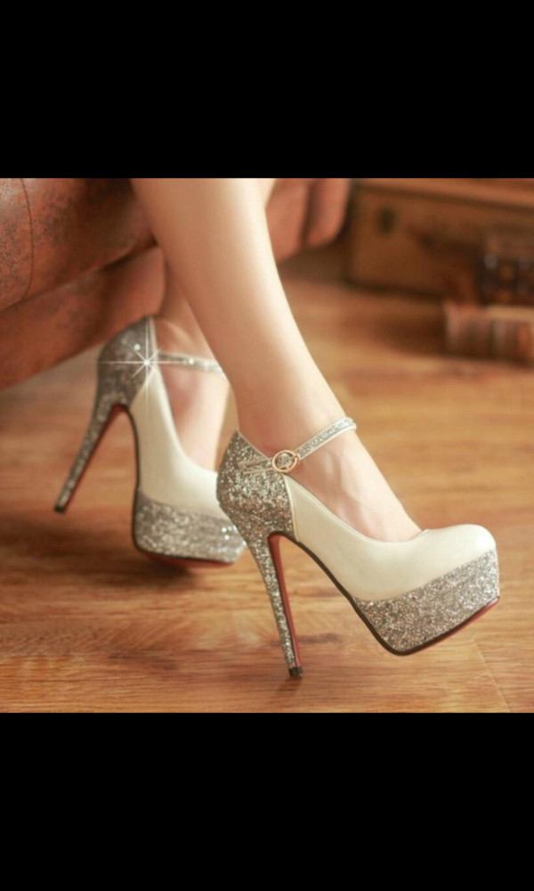 shoes glitter shoes colorblocked sparkle high heels glitter fancy silver