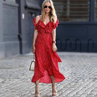 dress midi dress red dress slip dress sandals sandal heels bag white handbag nude shoes shoes