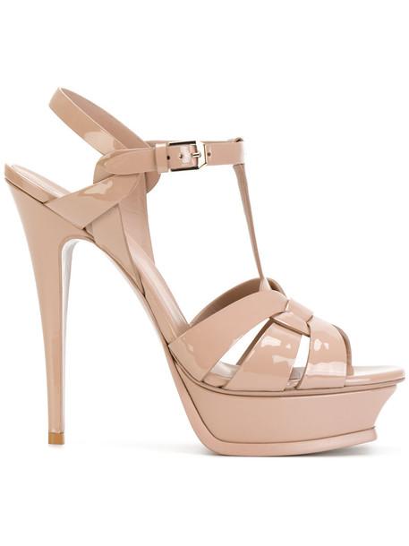 Saint Laurent women classic sandals leather nude shoes