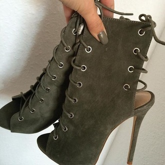 shoes olive green heels tie up boots suede army green