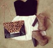 bag,women shoulder bags,cute,skirt,tulle skirt,white,black,leopard print,animal print,animals,style