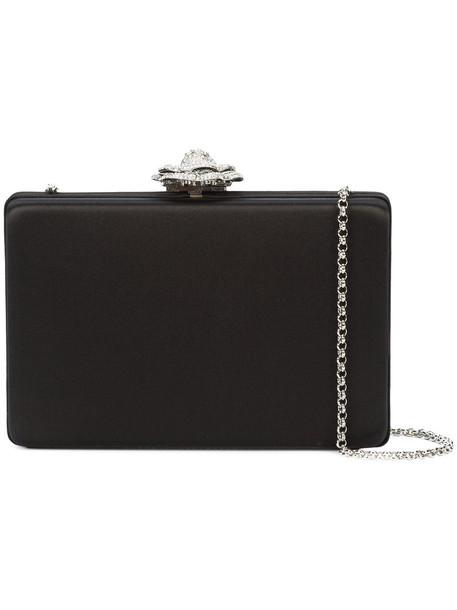oscar de la renta women clutch black silk bag