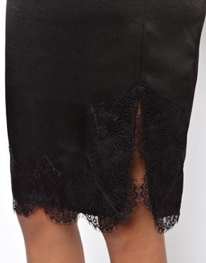 ASOS | ASOS Satin Slip Skirt With Lace Hem at ASOS