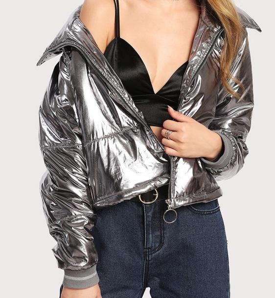 jacket girly silver metallic puffer jacket zip zip-up zip up jacket