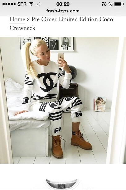 sweater sweater chanel black and white