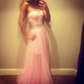 dress,prom,prom dress,pink dress,pink,princess,princess dress,bag,skirt,swan,long,feathers,long prom dress,pink by victorias secret,where to get it? :)