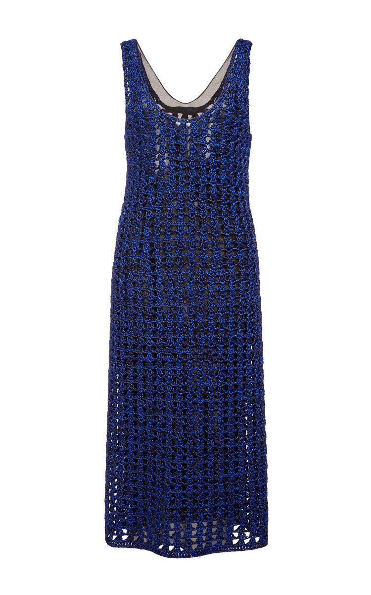 Cobalt and black open crochet knit tank dress by proenza schouler