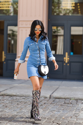 walk in wonderland,blogger,denim dress,knee high boots,snake shoes
