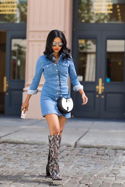 walk in wonderland, blogger, denim dress, knee high boots ...