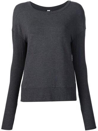 sweatshirt back open open back grey sweater