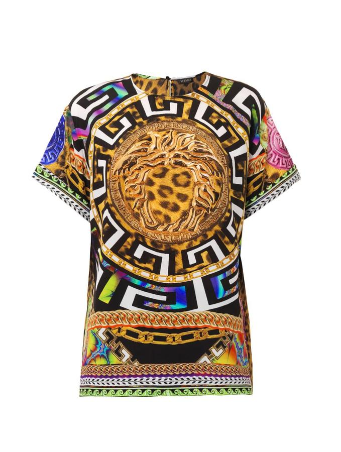 6ac83aa7 Versace Medusa and leopard-print silk top - ShopStyle