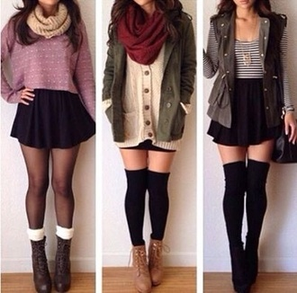 sweater jacket green scarf socks tights shoes cardigan top pink sweater striped top boots fall outfits skirt brown leather