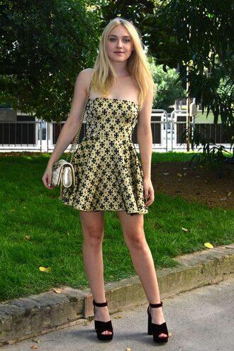 dress sandals platform sandals strapless strapless dress dakota fanning mini dress pattern