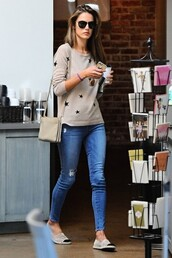 shoes,jeans,top,flats,sweater,alessandra ambrosio