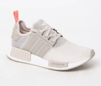shoes adidas adidas shoes adidas originals sneakers low top sneakers pastel nude sneakers grey sneakers grey tan athletic tan pink beige adidas nmd nude pink cute girl trendy cream addidas white and brown