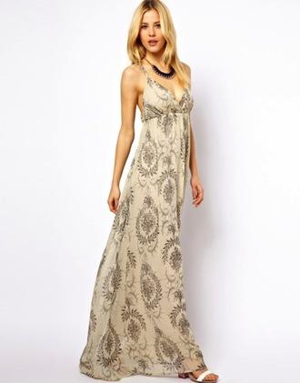 dress long dress maxi dress empire waist loose dress loose spaghetti strap v neck patterned dress paisley sheer fabric