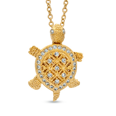 Ava nadri crystal turtle pendant in brass with 18k gold plate 16 ava nadri crystal turtle pendant in brass with 18k gold plate 16 peoples jewellers ava nadri crystal turtle pendant in brass with 18k gold plate 16 mozeypictures Images