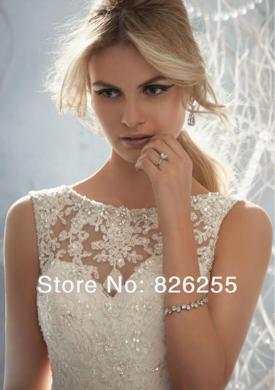 Aliexpress.com : Buy Free Shipping 2014 New Design Lace with Crystal Beads Sheer Neckline Sexy V Neck Back Cheap Wedding Dresses/Gowns NW0001 from Reliable lace wedding gowns sleeves suppliers on Love Story Wedding Dress
