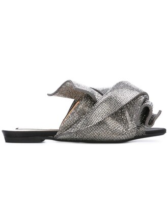 bow women sandals flat sandals leather grey metallic shoes