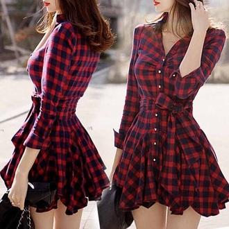 dress pleated plaid