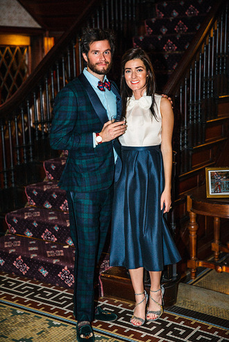 classy girls wear pearls blogger jewels bag scarf mens suit tartan midi skirt blue skirt blouse sandals mens tuxedo