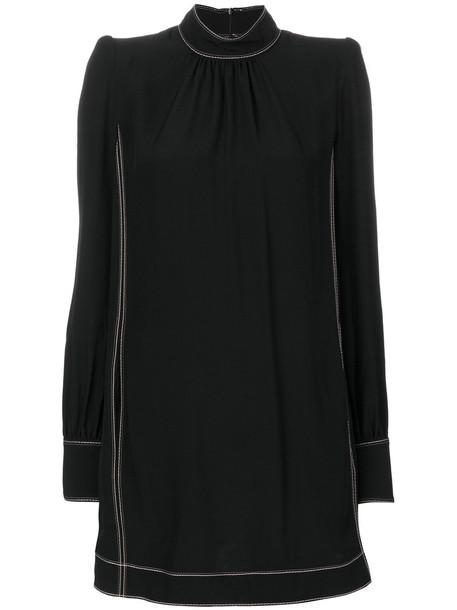 dress high women high neck black silk