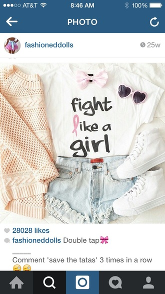 shirt fight like a girl girl girly cute t-shirt ripped jeans ripped shorts quote on it motivation quote love quotes cardigan bows hair bow sunglasses heart heart sunglasses pink heart sunglasses pink heart pink hearts breast cancer awareness stand up for cancer cancer cancer t-shirts cancer tees cancer ribbon tees cute top cute shorts sweater style shoes shorts