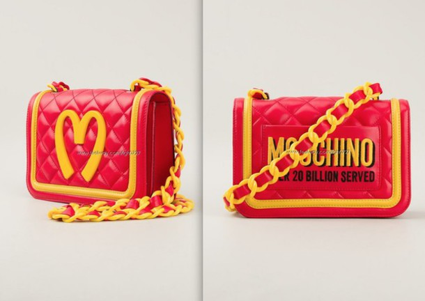 9213402b38 bag moschino moschino bag red yellow red and yellow chain purse mcdonalds  cute purse purse clutch