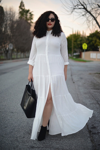 girl with curves blogger dress shoes sunglasses bag make-up plus size maxi dress plus size dress maxi dress plus size curvy