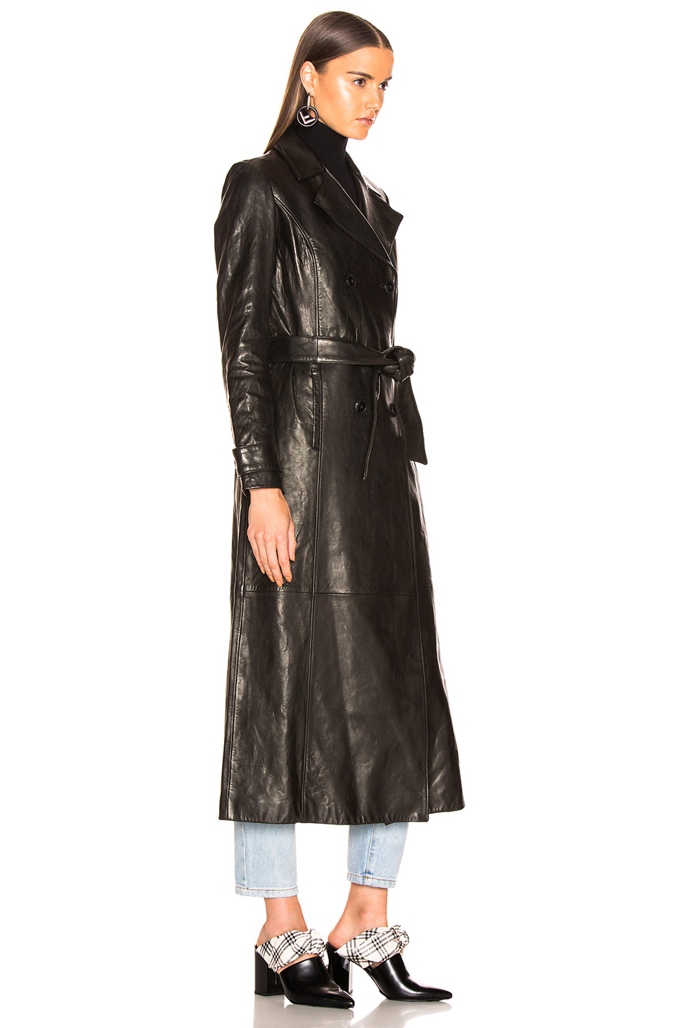 FRAME for FWRD Leather Trench Coat in Noir | FWRD