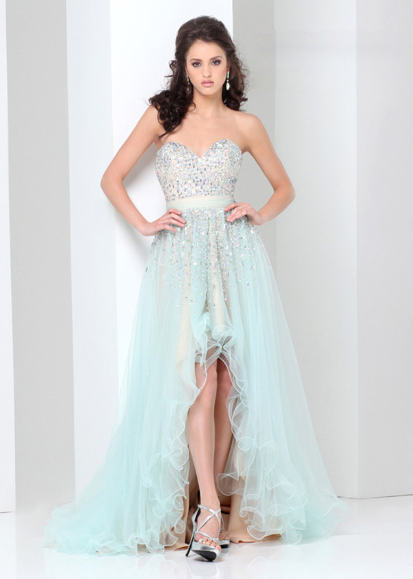 Light Blue Strapless Sweetheart Beaded Tulle High To Low ...