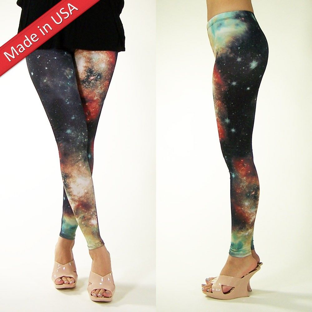 Women Cosmic Sparkle Galaxy Space Trend Aurora Print Leggings Tights Pants USA