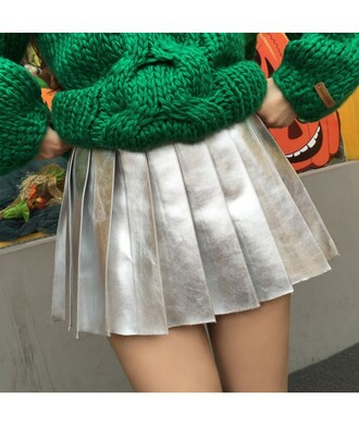 skirt silver fashion trendy style cool metallic girly cute kawaii it girl shop metallic pleated skirt