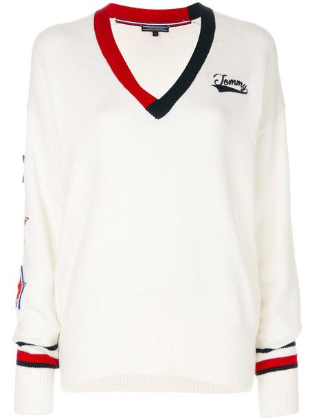 Tommy hilfiger jumper women white cotton wool sweater