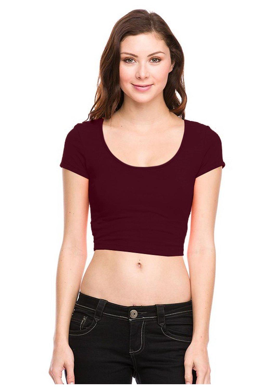 G2 chic women's short sleeve scoop neck crop top(top