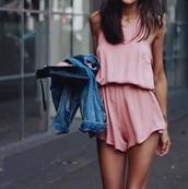 jumpsuit,pink,playsuit short,blush pink,rose,short,short jumpsuit,silk,denim jacket,boho chic,chic,boho,bag,pink dress,summer outfits,summer dress,romper